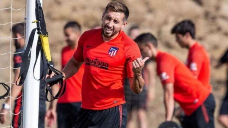 Héctor Herrera en entrenamiento con el Atlético de Madrid