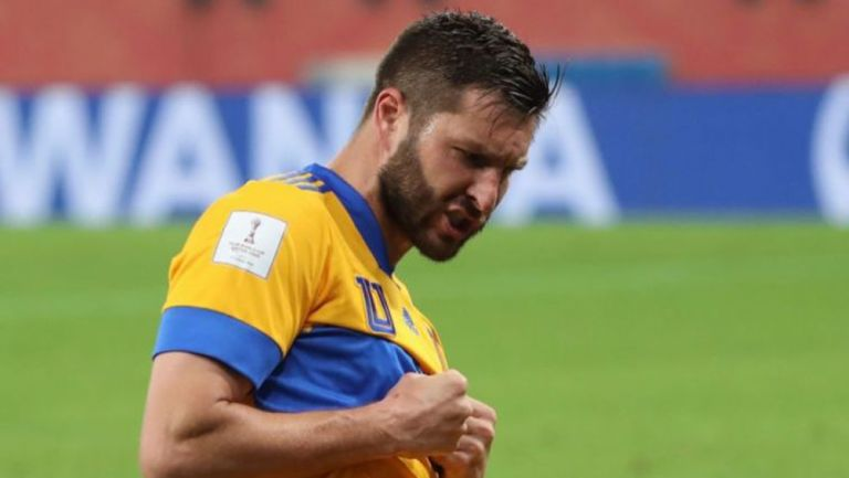 André-Pierre Gignac tras anotar gol ante el Palmerias