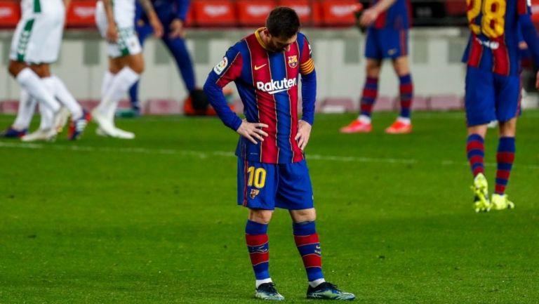 Lionel Messi en el partido entre el Barcelona y el PSG