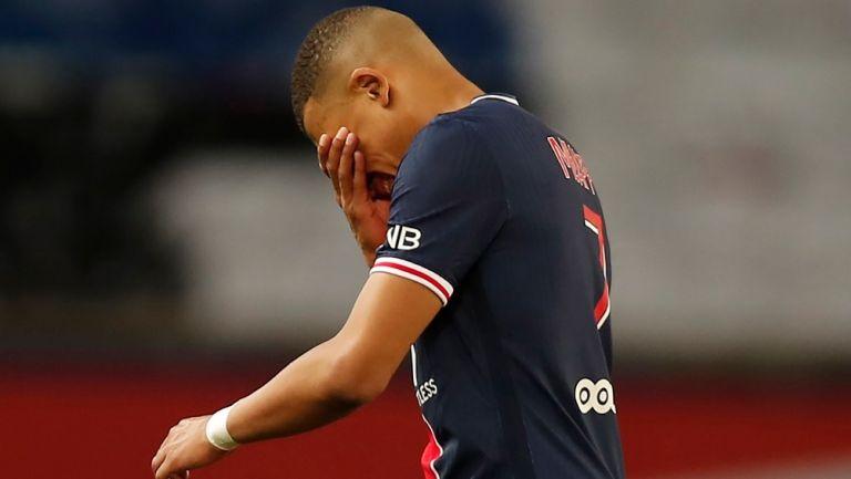 Mbappé reacciona al final del partido contra Mónaco