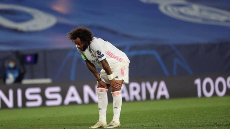 Marcelo durante un partido con el Real Madrid