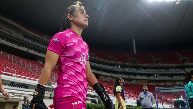 Blanca Félix previo a un partido de Chivas