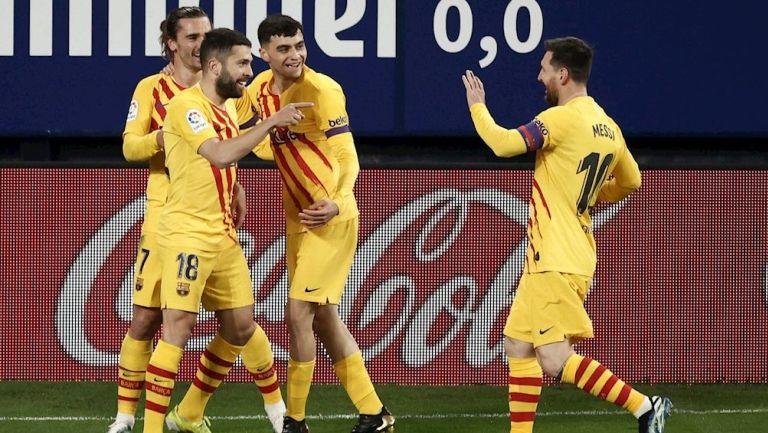 Jugadores del Barça celebran gol vs Osasuna