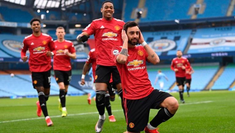 Bruno Fernandes festejando el primer gol del partido