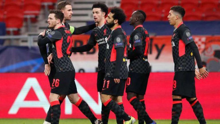 Liverpool en celebración frente al Leipzig