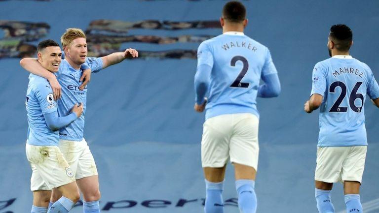 Jugadores del City celebran gol vs Southampton