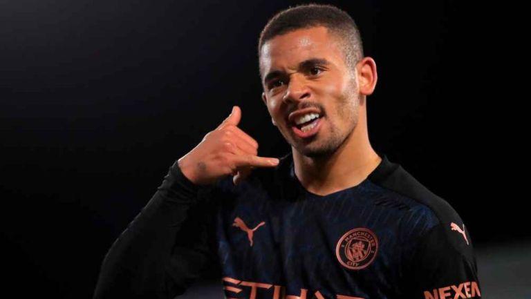 Gabriel Jesús celebrando una anotación con el Manchester City