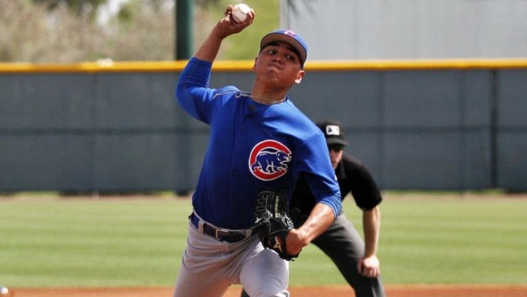 Jesús Camargo en un partido con los Cubs en la Ligas Menores