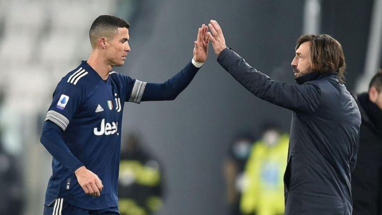 Cristiano Ronaldo y Andrea Pirlo en un partido de la Juventus