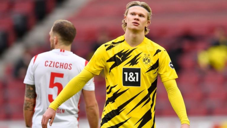 Haaland en el partido entre el Borussia Dortmund y el Colonia
