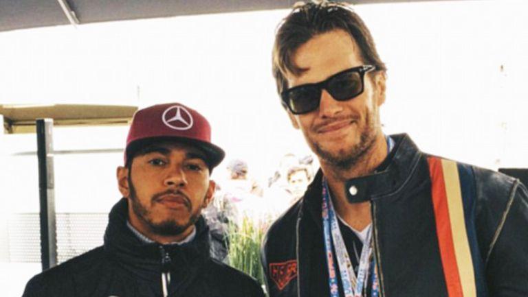 Lewis Hamilton y Brady posan para sus redes sociales