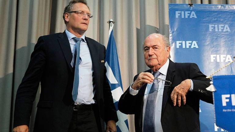 Jerome Valcke y Joseph Blatter, durante una conferencia de prensa