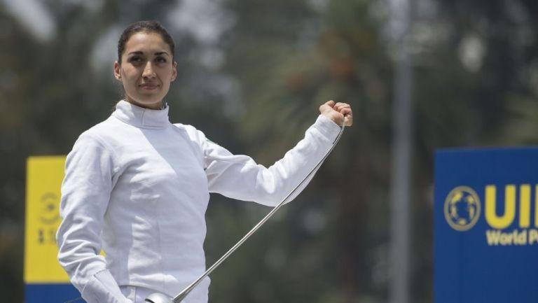 Mariana Arceo durante una competencia