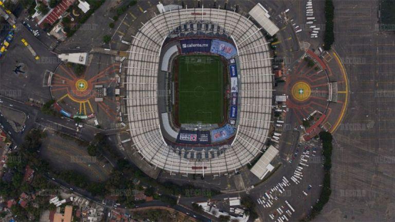 La vista desde arriba del Estadio Azteca