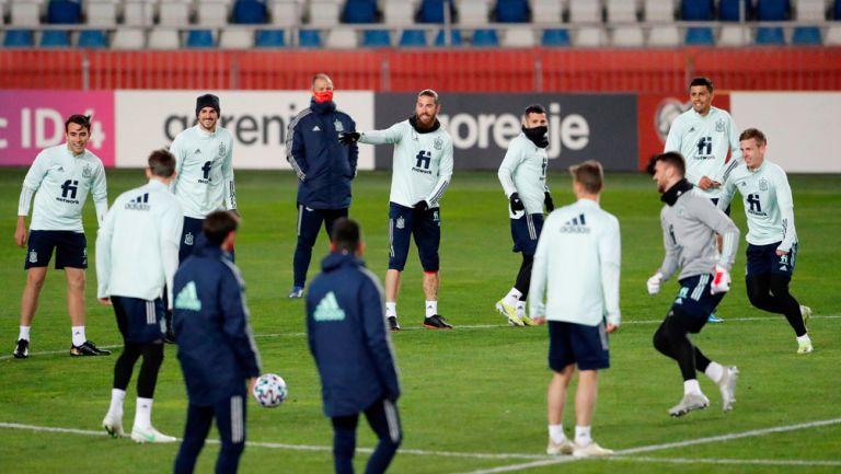 Selección de España en un entrenamiento