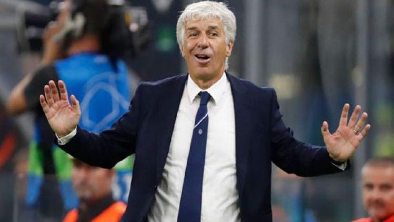 Gian Piero Gasperini, contento tras un gol de su equipo