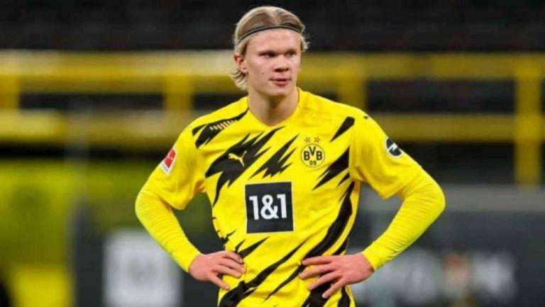 Erling Haaland en un partido con el Borussia Dortmund