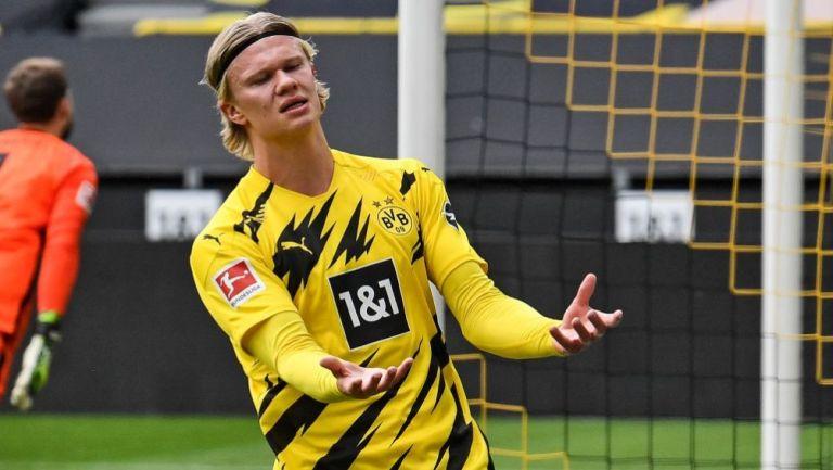 Erling Haaland en un partido del Borussia Dortmund