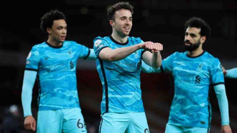 Diogo Jota en celebración con Liverpool