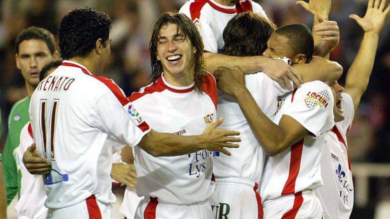 Sergio Ramos festejando con el Sevilla
