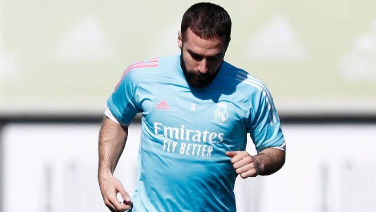 Dani Carvajal en entrenamiento con el Real Madrid