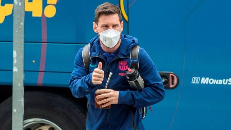 Lionel Messi en la llegada del Barcelona