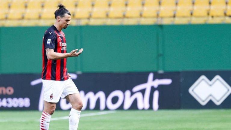 Ibrahimovic en un partido con el Milan