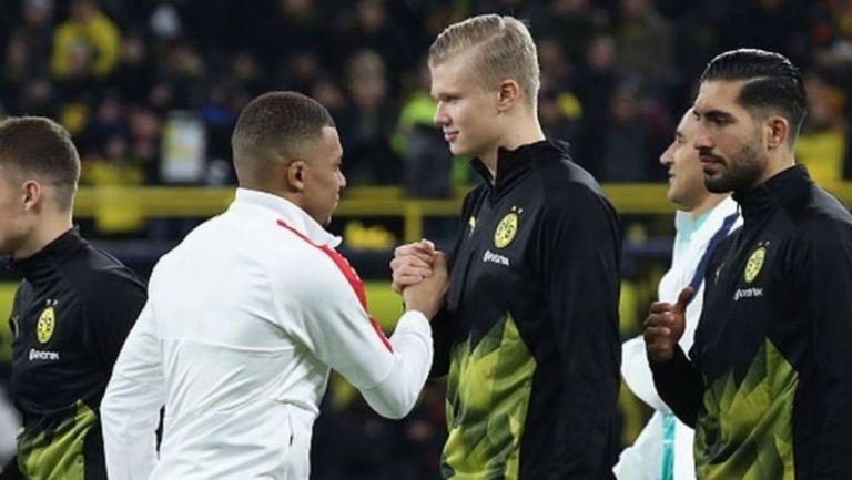 Mbappé y Haaland previo a un partido de Champions