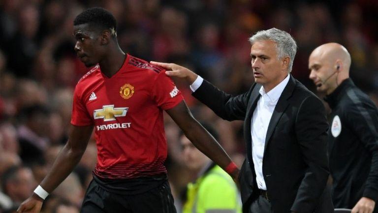 Pogba con Mourinho en el United
