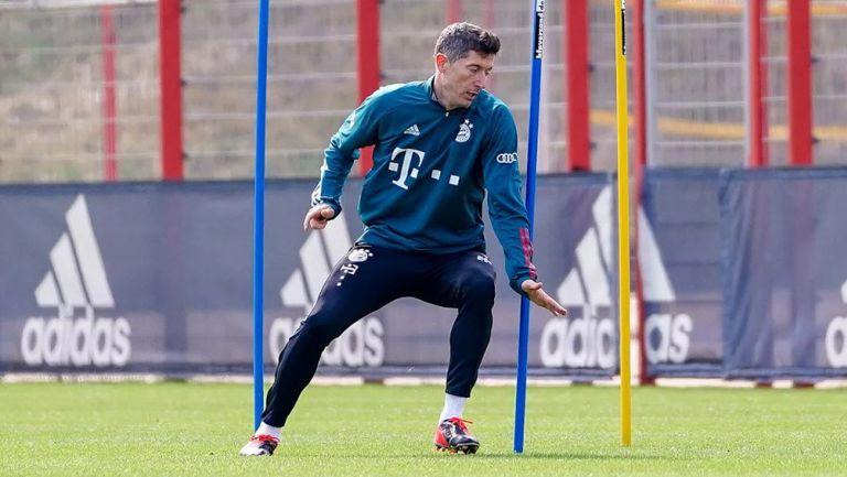 Robert Lewandowski durante una sesión con el Bayern Munich