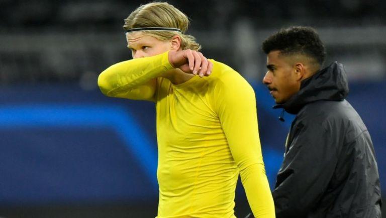 Erling Haaland tras un partido del Borussia Dortmund