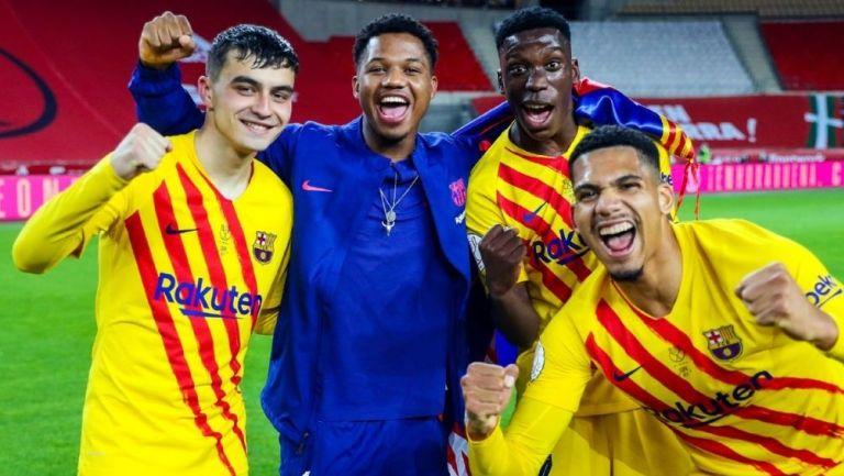 Jugadores del Barcelona en la Final de la Copa del Rey