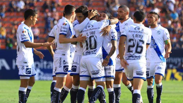 Puebla en festejo de gol