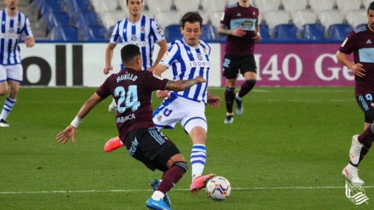 Real Sociedad en acción frente al Celta Vigo