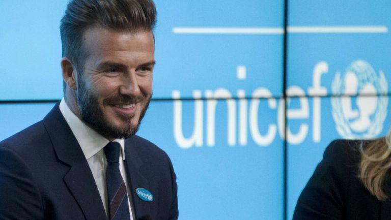 David Beckham, copropietario del Inter de Miami, en evento de la Unicef