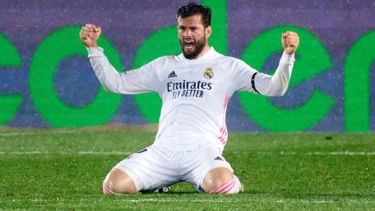 Nacho Fernández celebra anotación con el Real Madrid
