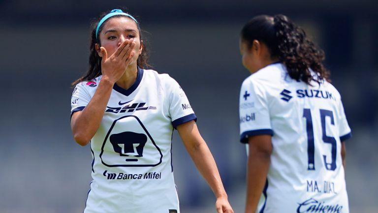 Marlyn Campa celebra su gol ante Atlas