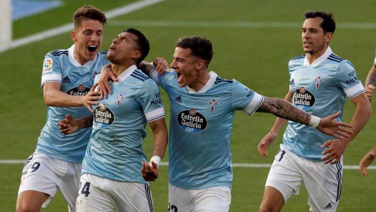 Celta de Vigo en festjeo de gol