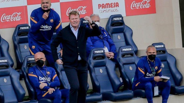 Ronald Koeman en el duelo entre el Barcelona y el Villarreal
