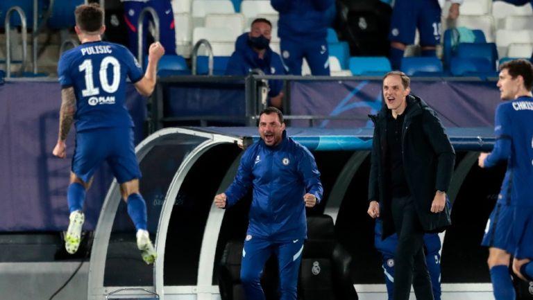 Pulisic celebra anotación con el Chelsea frente al Real Madrid en Semifinal de Champions League