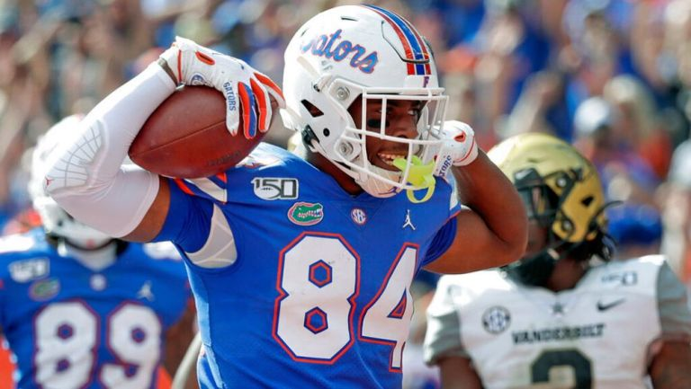 Pitts celebra un TD con los Gators
