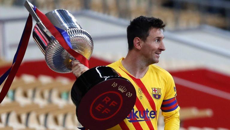 Leo Messi en la Final de la Copa del Rey frente al Athletic Bilbao en el estadio Cartuja en Sevilla