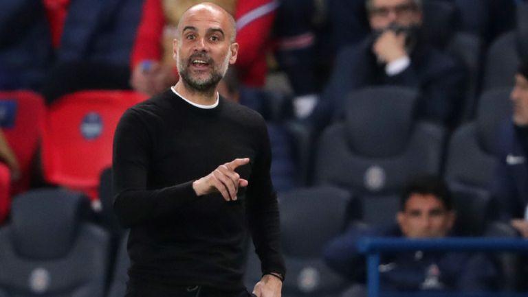 Pep Guardiola durante el duelo del City ante el PSG