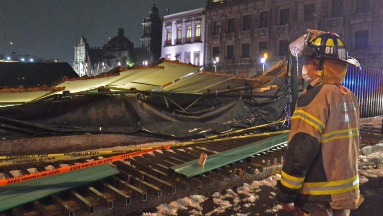 CDMX: Fuerte granizada provocó caída de techumbre del Templo Mayor