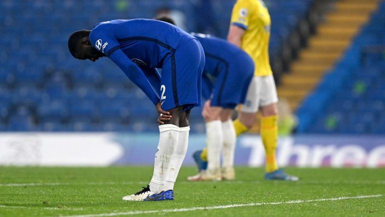 Antonio Rudiger del Chelsea reacciona ante empate frente al Brighton