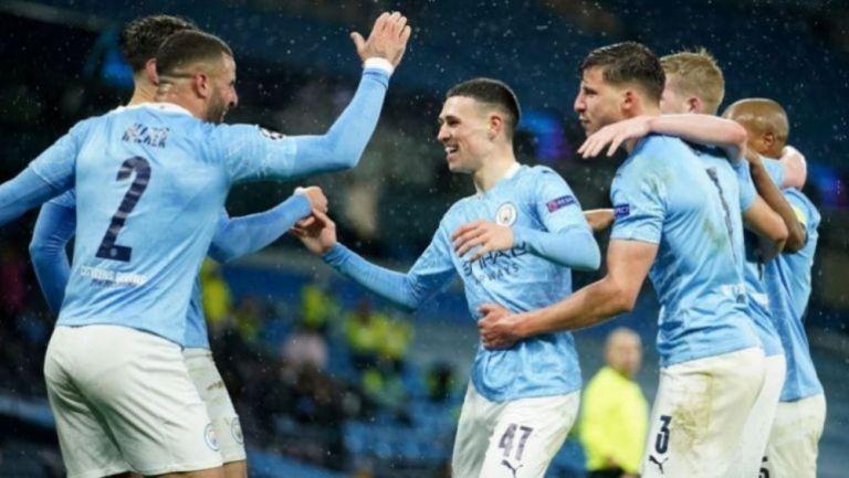 Jugadores del Manchester City en festejo