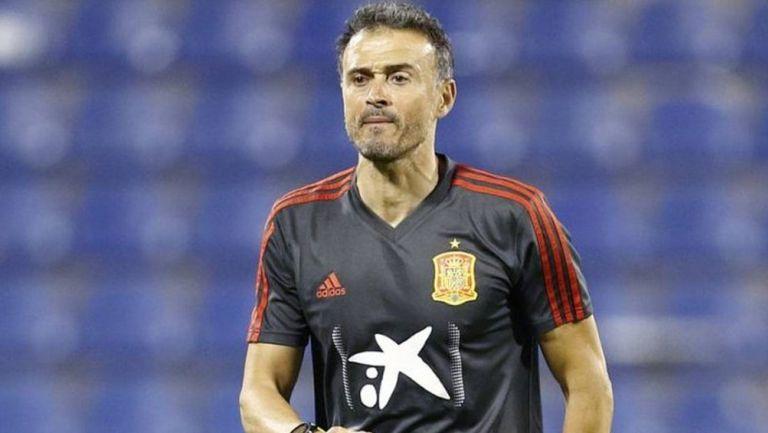 Luis Enrique en un entrenamiento de España