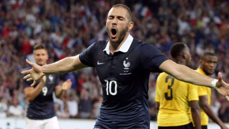 Karim Benzema en celebración de gol