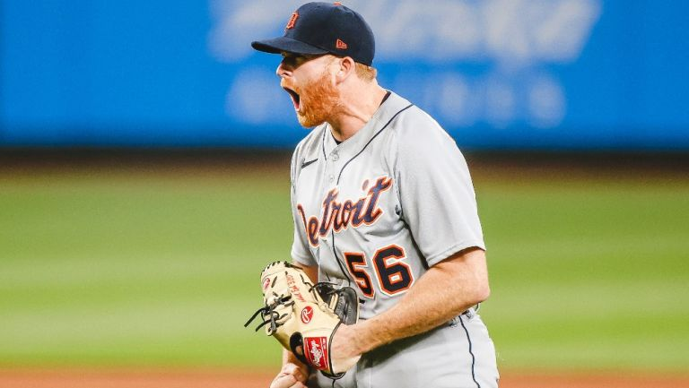 Spencer Turnbull en acción con los Tigres de Detroit