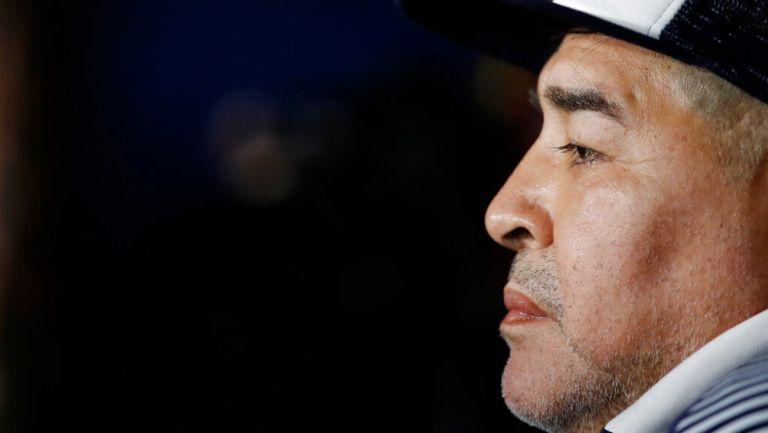 Maradona como técnico de Gimnasia y Esgrima en un partido frente a Boca Juniors